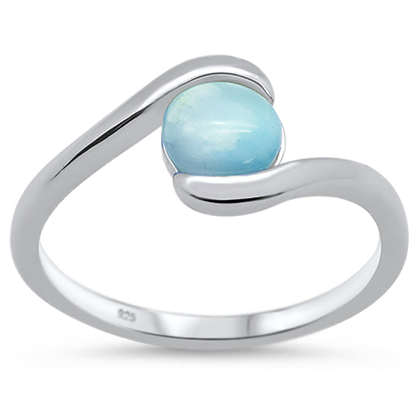 Natural Round Larimar .925 Sterling Silver Ring Sizes 5-10
