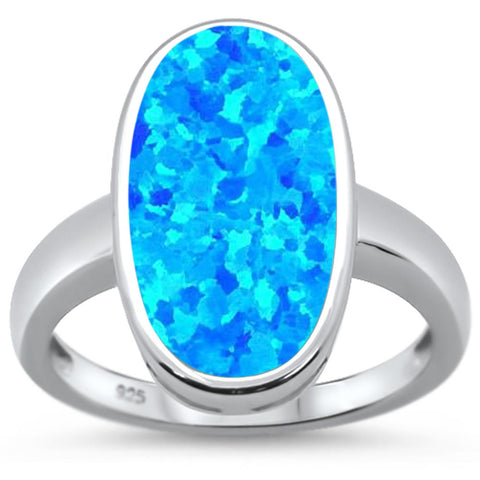 Blue Opal Oval  .925 Sterling Silver Ring Sizes 6-8