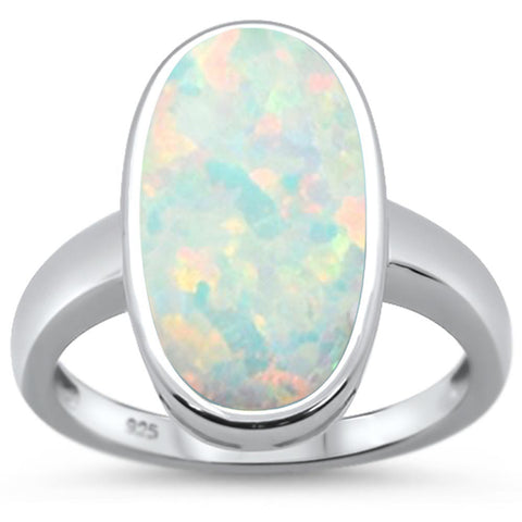 White Opal Oval  .925 Sterling Silver Ring Sizes 6-8
