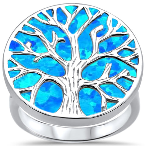 Lab Created Blue Opal Tree Of Life .925 Sterling Silver Ring Sizes 6-8