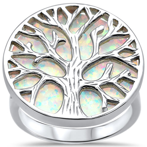 Lab Created White Opal Tree Of Life .925 Sterling Silver Ring Sizes 6-8