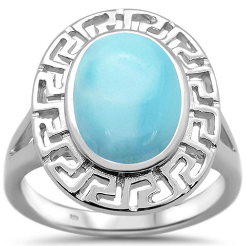 Natural Larimar Antique Greek Key Design .925 Sterling Silver Ring Sizes 6-10