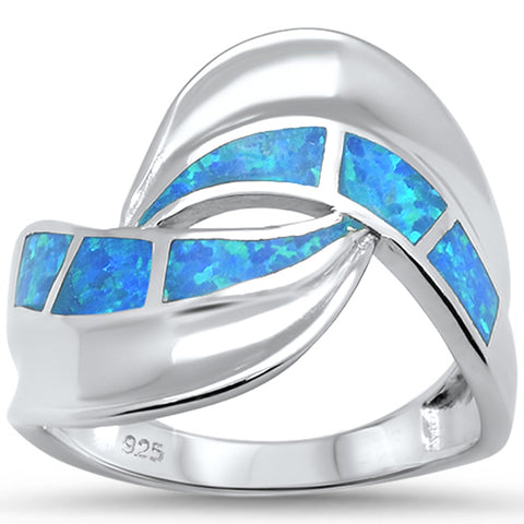 Blue Opal Wave Fashion .925 Sterling Silver Ring Sizes 6-8