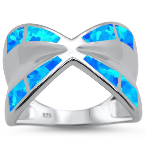 Blue Opal Crisscross .925 Sterling Silver Ring Sizes 6-8