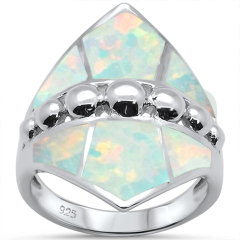White Opal Fashion .925 Sterling Silver Ring Sizes 6-9