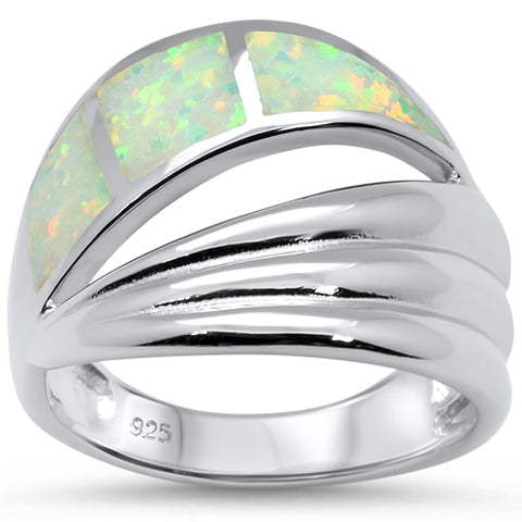 White Opal Wave Fashion .925 Sterling Silver Ring Sizes 6-8