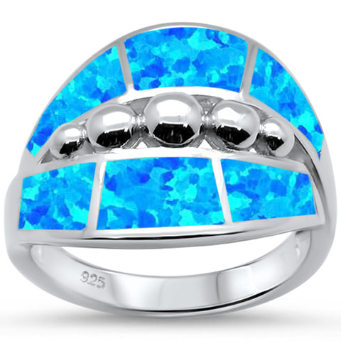 Blue Opal Fashion .925 Sterling Silver Ring Sizes 6-8