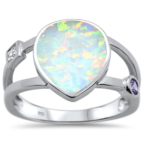 Blue Opal & Amethyst Cz .925 Sterling Silver Ring Sizes 5-10