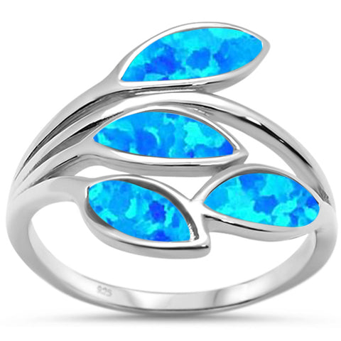 Blue Opal Olive Branch Tree Leaf .925 Sterling Silver Ring Sizes 5-10