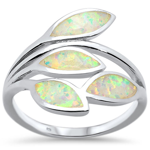 White Opal Olive Branch Tree Leaf .925 Sterling Silver Ring Size 5-10