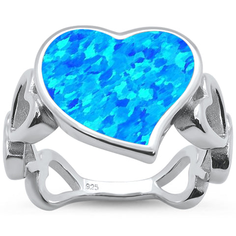 Blue Opal Heart Shape Band .925 Sterling Silver Ring Sizes 5-10