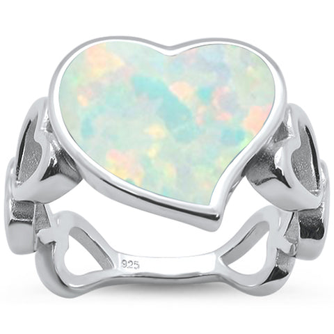 White Opal Heart Shape Band .925 Sterling Silver Ring Sizes 5-10