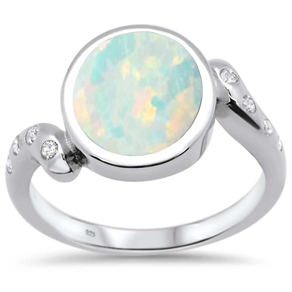 <span>CLOSEOUT! </span>White Opal Round & Cubic Zirconia .925 Sterling Silver Ring Sizes 5-10