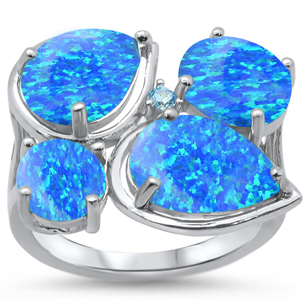 <span>CLOSEOUT! </span>Blue Opal & Blue Topaz Cubic Zirconia .925 Sterling Silver Ring Sizes 6-8