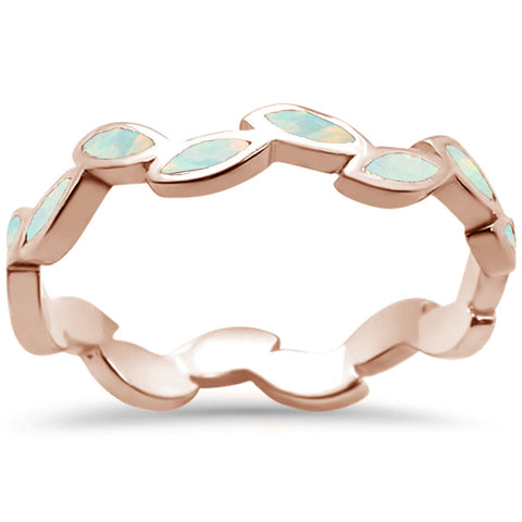 Rose Gold Plated White Opal Leaf Design .925 Sterling Silver Ring Sizes 6-8