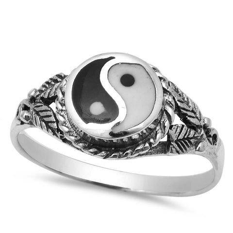 Ancient Chinese Symbol Yin Yang .925 Sterling Silver Ring Sizes 5-9