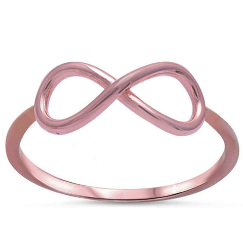 Plain Rose Plated Infinity .925 Sterling Silver Ring Sizes 2-10
