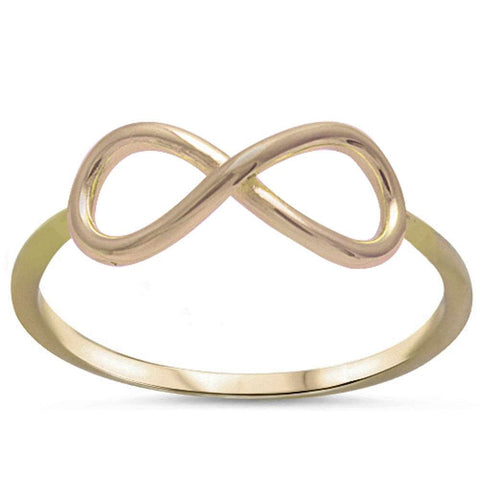 Plain Yellow Gold Plated Infinity .925 Sterling Silver Ring Sizes 2-10
