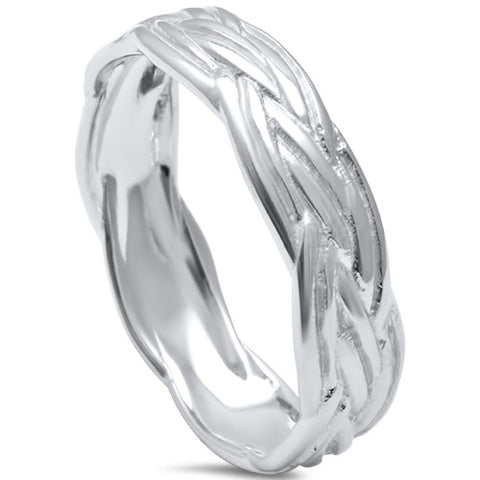 Braided Celtic Band .925 Sterling Silver Ring sizes 8-13