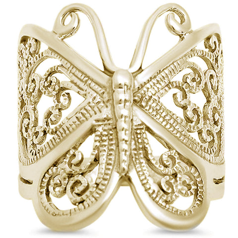 Yellow Gold Plated  Filigree Butterfly .925 Sterling Silver Ring Sizes 5-10