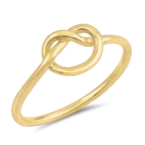 Yellow Gold Plated Love Heart Infinity Knot  .925 Sterling Silver Ring Size 3-12