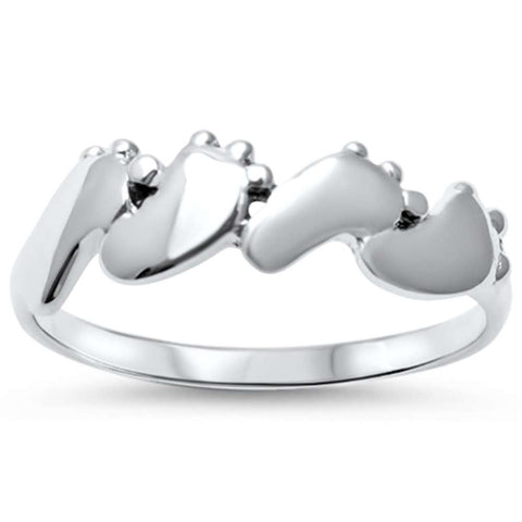 Toes Feet Walking Feet .925 Sterling Silver Ring Sizes 4-10