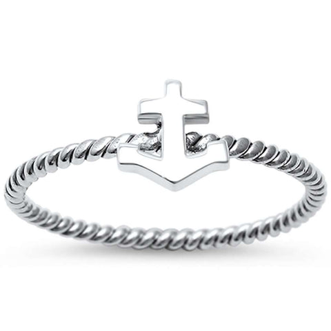 Sailor Anchor Braided Solid .925 Sterling Silver Ring Sizes 4-10