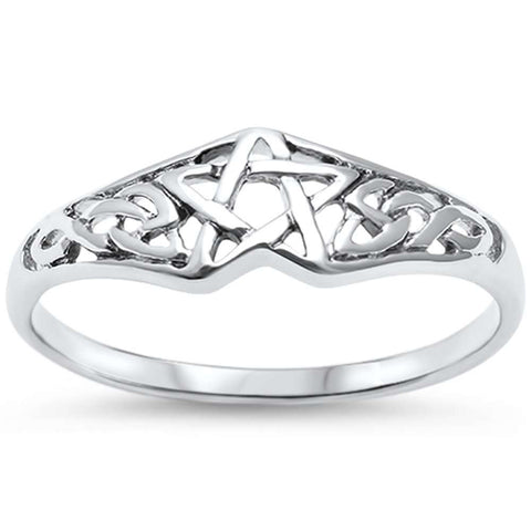 Pentagram Celtic Star .925 Sterling Silver Ring Sizes 4-11