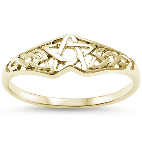 Yellow Gold Plated Celtic Star  .925 Sterling Silver Ring Sizes 4-11