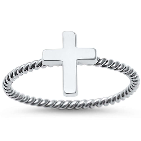 Plain Cross Braided Band Solid .925 Sterling Silver Ring Sizes 4-11