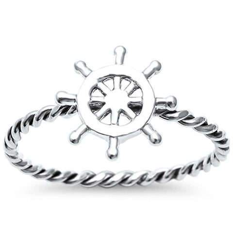 Nautical Stern Braided Band .925 Sterling Silver Ring Sizes 4-11