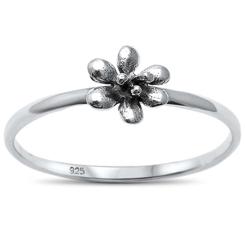 Plain Flower .925 Sterling Silver Ring Sizes 5-10