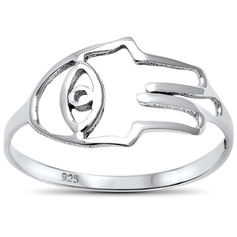 Sterling Silver Kabbalah Hand of God Evil Eye Ring Sizes 5-10