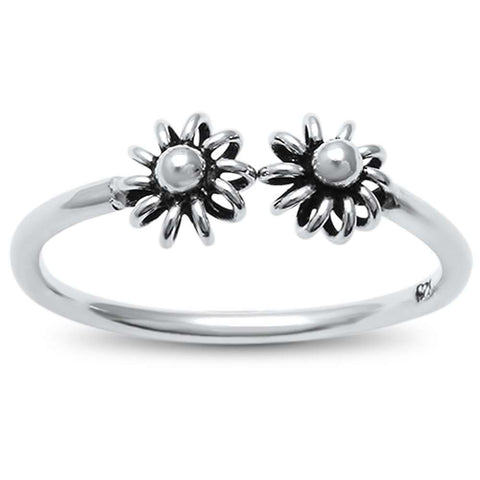Plain 2 Flowers .925 Sterling Silver Ring Sizes 4-10
