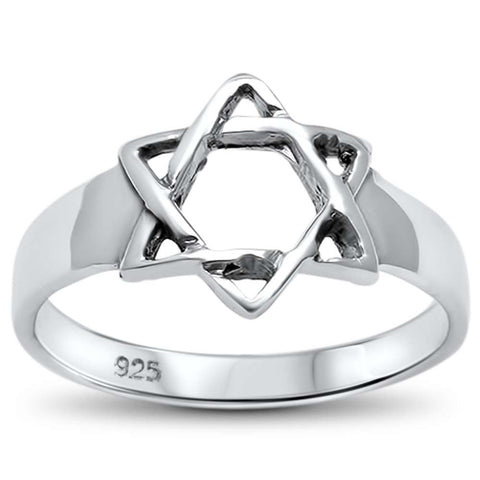 Plain Star of David .925 Sterling Silver Ring Sizes 5-10