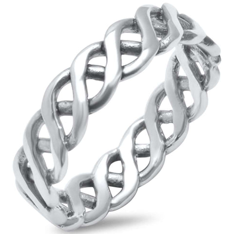 Plain Infinity Braid .925 Sterling Silver Ring Sizes 6-10