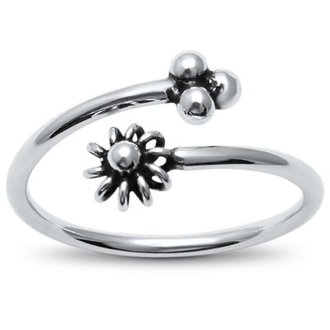 Plain Flower Open Design  .925 Sterling Silver Ring Sizes 5-9