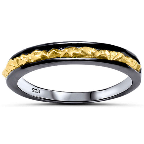 18K Gold & Black Plated Nugget Band .925 Sterling Silver Ring Sizes 6-12