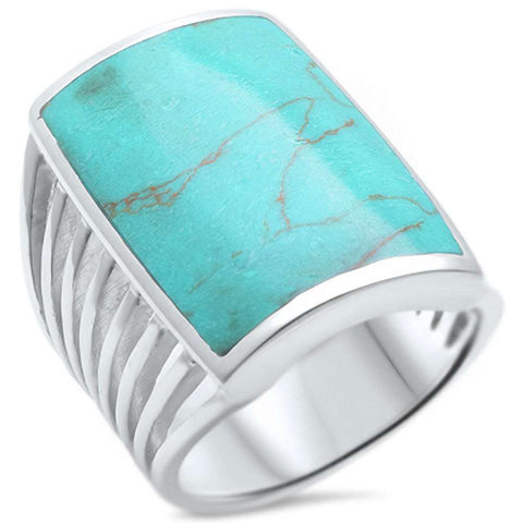Radiant Cut Green Copper Turquoise .925 Sterling Silver Ring Sizes 6-9