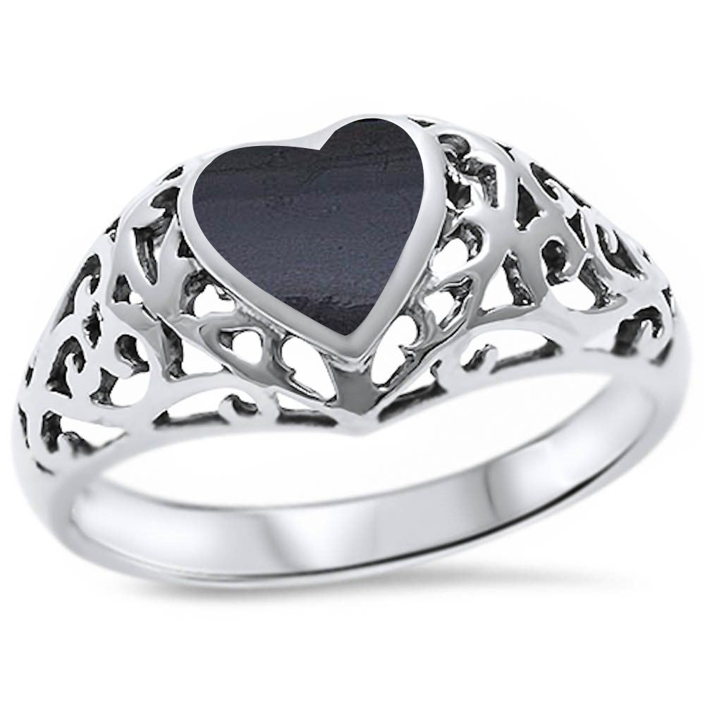 <span>CLOSEOUT!</span> Black Onyx Heart Fancy Design .925 Sterling Silver Ring Sizes 5-11