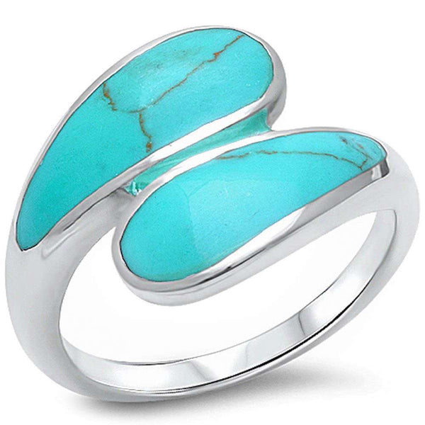 Green Turquoise Fashion .925 Sterling Silver Ring Sizes 5-10