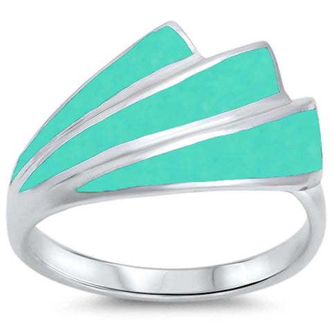 New Design Turquoise  .925 Sterling Silver Ring Sizes 5-10