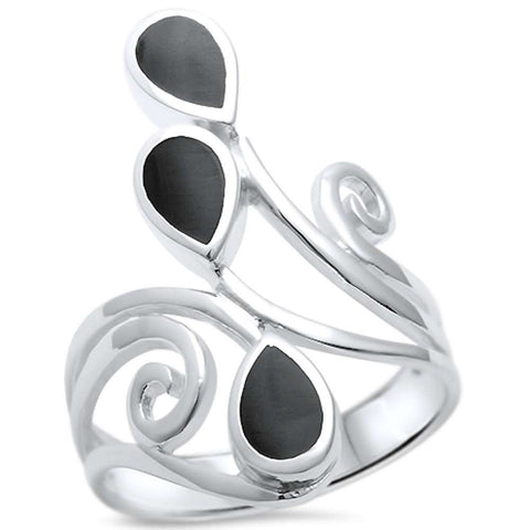 Black Onyx Wrap Around Spiral .925 Sterling Silver Ring Sizes 5-11