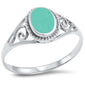 <span>CLOSEOUT!</span>Oval Green Turquoise Filigree .925 Sterling Silver Ring Sizes 4-12