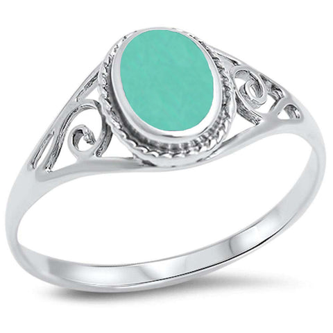 Oval Green Turquoise Filigree .925 Sterling Silver Ring Sizes 4-12