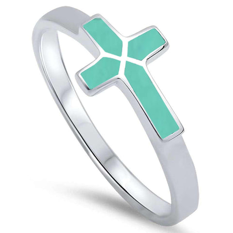 Turquoise Sideways Cross .925 Sterling Silver Ring Sizes 5-10