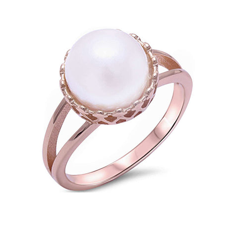 Rose Gold Plated Fresh Water Pearl .925 Sterling Silver Ring Sizes 5-11