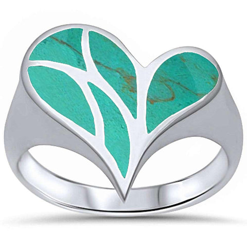 Turquoise Shell Heart .925 Sterling Silver Ring Sizes 5-10