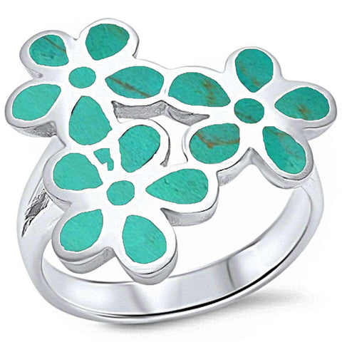 Turquoise Shell Inlay Plumeria .925 Sterling Silver Ring Sizes 5-10