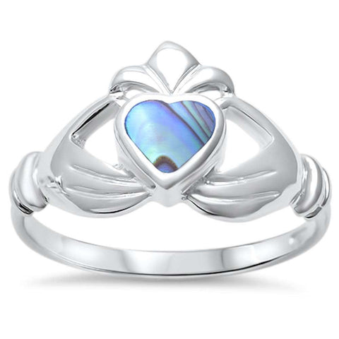 Wholesale Silver- Abalone Heart Irish Claddagh .925 Sterling Silver Ring Sizes 5-9